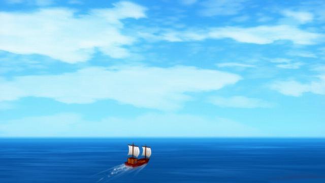 遠洋の大海原に船が出る