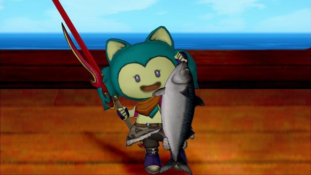 サバを釣り上げるクーちゃん
