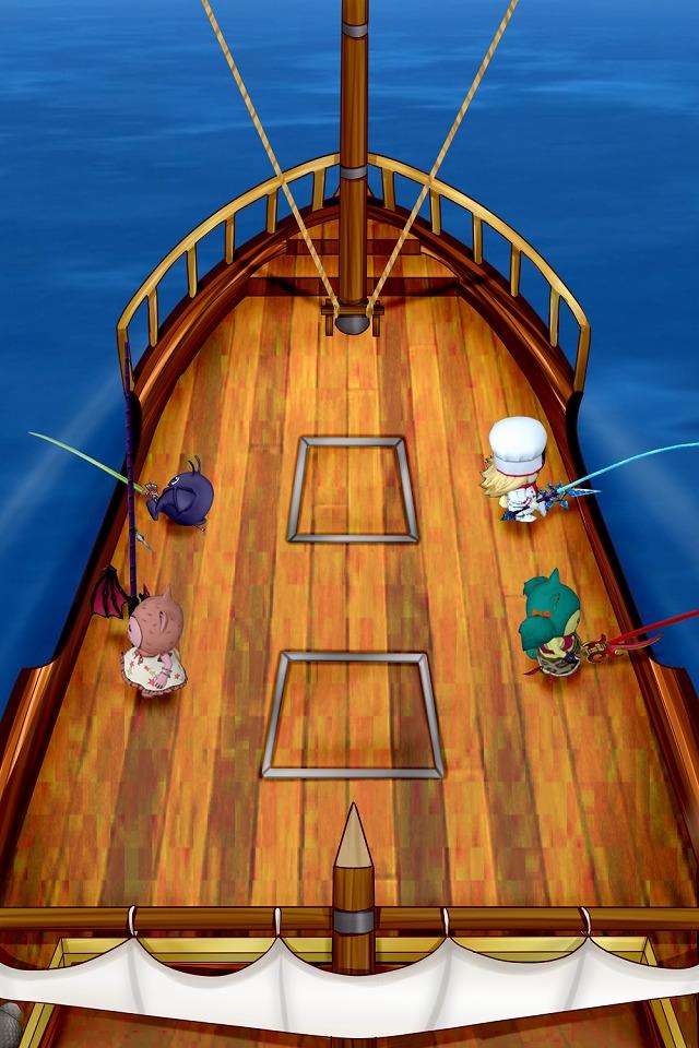 甲板で4人が釣りを開始する