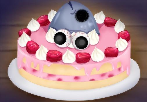 マグロのお頭ケーキの目玉盛り