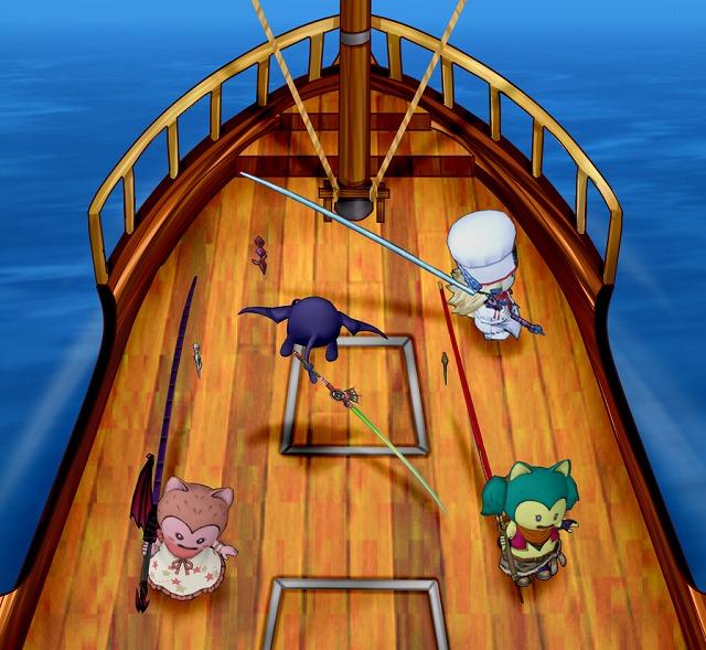 甲板でウロウロする4人