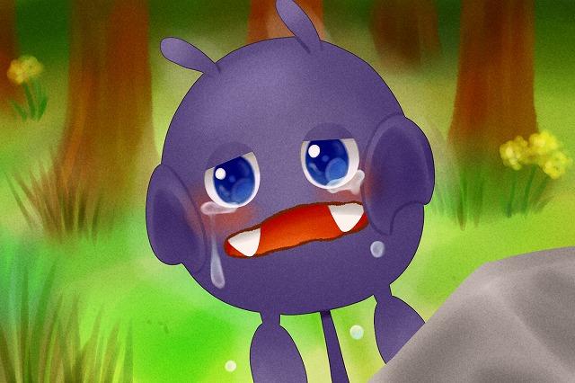 涙があふれる、みにくいモーモンのこ