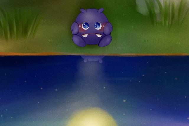月をみつめる、みにくいモーモンのこ