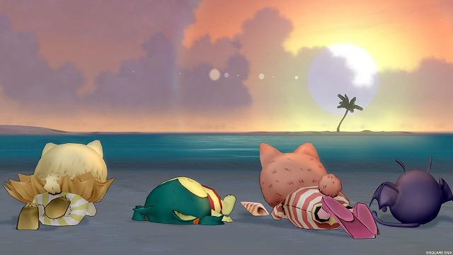 浜辺で寝転ぶぷくみ達