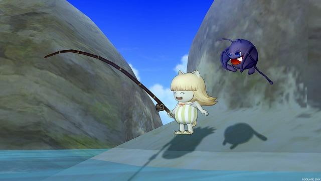 岩場で釣りをするポシェル