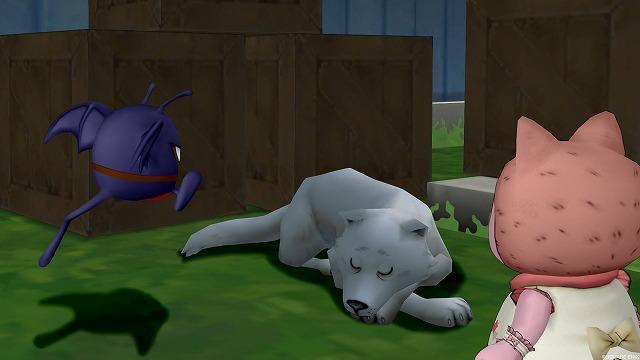 ぐったり座り込む犬とぷくみ