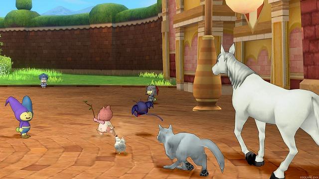 町の中を歩くぷくみと動物たち