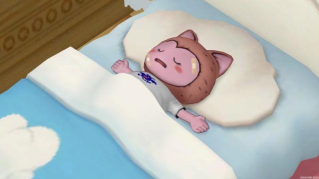 ベッドで眠るぷくみ